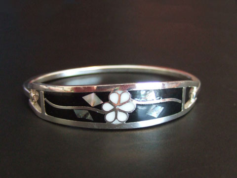Sterling Silver Flower Bangle Bracelet with Coral Inlay