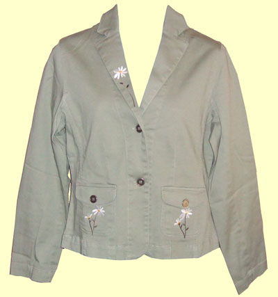 Green Khaki Blazer with long Stemmed Daisies