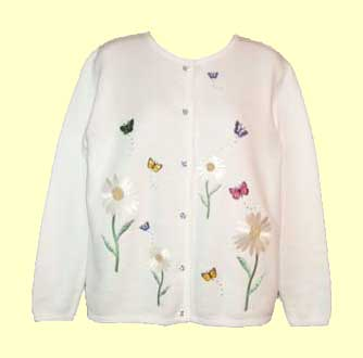 White cardigan with butterfly garden design