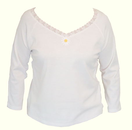 Long sleeve white V-neck with lace trim