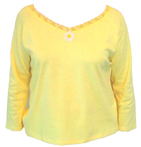 Long sleeve yellow V-neck with lace trim